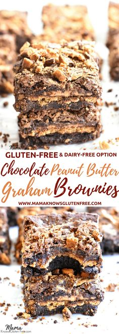 These gluten-free chocolate peanut butter graham brownies are divine! Totally decadent, with layers of fudgy chocolate, creamy peanut butter andchocolate honeygrams. Thick, fudgy, chewy, slightly gooey. The BEST gluten-free brownies. gluten-free brownies, chocolate peanut butter brownies, gluten-free recipe, gluten-free dessert Recipe from www.mamaknowsglutenfree #glutenfree #glutenfreebrownies #brownies #chocolatepeanutbutter #glutenfreedessert #glutenfreerecipe #easyglutenfree…