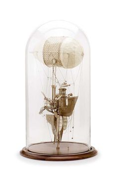 Daniel Agdag 'The Captain', 2014, cardboard, trace paper mounted on wooden base with hand-blown glass dome, 58.5 x 30.5 cm