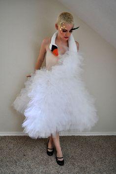 Custom Made Bjork Swan Party Dress - Special Event - Halloween Costume