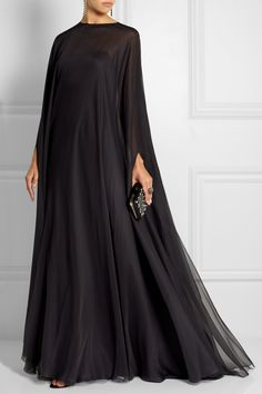 Draped silk-chiffon gown