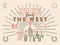 Greetings from the West west illustration horseshoe dancing cowboy the west arizona greetings A few details from a current project, working on simplified and varied linework for some letterpress prints. Photo Wall Collage, Picture Wall, Country Backgrounds, College Walls, Western Wall, Western Style, Cowboy Art, Cowboy Theme, Letterpress Printing
