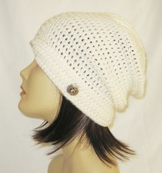 "flipped side brim slouch,beanie,hat,cap,decorated with button,color cream,made to fit teens & adults 21-23"" by Jeniebugs on Etsy"