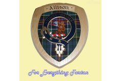 Clan Allison Tartan Woodcarver Wooden Wall Plaque Allison Crest 7 x 8