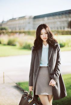 Neutrals, camel, military green, coat, blouse, a-line skirt