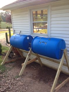 My new compost barrels I completed today. Well, almost complete, still like one latch and one handle.