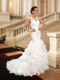 Charming Jewel Beading Tiered Mermaid Wedding Dress 2