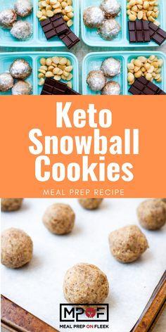 Keto Snowball Cookies - Meal Prep on Fleek™ Brownie Recipes, Cookie Recipes, Snack Recipes, Dessert Recipes, Snacks, Keto Recipes, Dinner Recipes, Healthy Recipes, Cookie Ideas