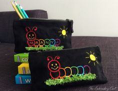 Caterpillar Pencil Case Hand Embroidery by TheEmbroideryCart