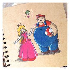 Princess Peach and Baymax as Mario lol