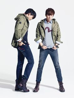 """TAECYEON and WOOYOUNG (2PM) sport casual jeans looks that signal """"day off!"""" -Lily. #streetstyle"""