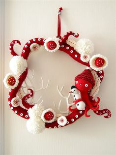 Red and White Octopus Christmas Wreath Girly Christmas Wreath Christmast Wreath Chirstmast Wreath Design