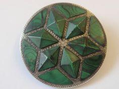 Antique Victorian Silver Scottish Malachite Agate Brooch Pin C 1850