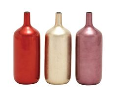 Wood Lacquer Vase in Glossy Finish - Set of 3