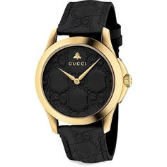 Gucci Men's G-Timeless Signature GG Leather Strap Watch (3,675 SAR) ❤ liked on Polyvore featuring men's fashion, men's jewelry, men's watches, black, mens leather watches, mens diamond bezel watches, mens watches jewelry and mens water resistant watches