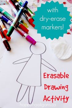 FUN Erasable drawing activity for kids on homemade reusable drawing sheets. Great fun for kids to draw and decorate. Saves on paper too!