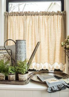Wake up your windows with the Blue Ribbon Crochet tier. A fun twist on a simple cotton curtain.