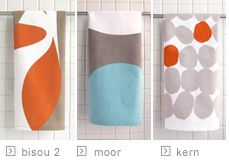 pretty kitchen dish tea towels - orange/rust and teal/blue/aqua