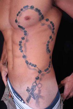 3D Rosary Beads and Cross Tattoo - Daniel Novais http://best3dtattoos.com/fashion-3d-tattoos/3d-rosary-beads-and-cross-tattoo/