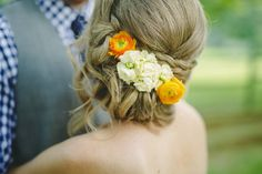 Wedding Updo with flowers | Mint & Navy DIY Farm Wedding | Daphne and Dean Photography