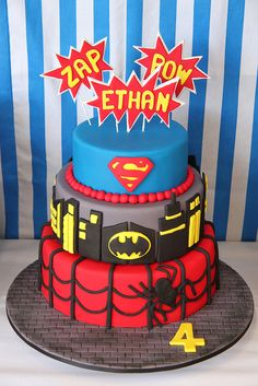 If you are planning a spiderman party here is a collection of spiderman cake ideas to help. Superhero Birthday Cake, Superhero Party, Boy Birthday Parties, 4th Birthday, Cake Birthday, Birthday Ideas, Superhero Superman, Batman Spiderman, Birthday Celebrations