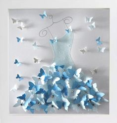 Personalised Cinderellas dress style picture, by Flutterframes-unique bespoke picture Made with lots of beautiful 3d butterflies, framed incased in a glass box frame. Can be made in any colour of choice If you are looking for a unique gift idea, this stunning 3d picture wall art makes the perfect anniversary gift, wedding gift, birthday gift or simply a special occasion gift for that special someone. Brighten up an empty wall with this gorgeous 3D wall art. These pictures are sure to get ...