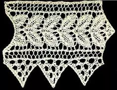 Knitted rose leaf edging with triangular lace border