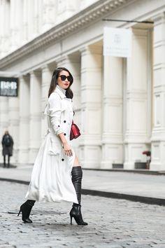 Winter White :: White trench & Midi sweater dress :: Outfit :: Coat :: Marissa Webb Dress :: Rachel Pally Bag :: Celine Shoes :: Jimmy Choo Accessories :: Karen Walker sunglasses, Stila 'Fiery' lip color, Lulu Frost rings Published: December 28, 2015