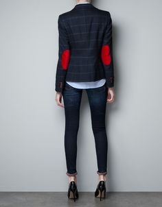 Checked wool Blazer with elbow patches - Zara 69.95 euro  great for the rainy winter ahead.