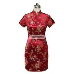 #qipao  #cheongsam Burgundy Satin Frog Button Dragon and Phoenix Mini Chinese Dress Qipao