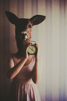 deer, clock with coffee in it. by laura-makabresku on DeviantArt Animal Masks, Animal Heads, Creative Portrait Photography, Art Photography, Laura Makabresku, Kreative Portraits, The Dark Side, Little Presents, 3d Fantasy