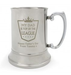 Top of the League Stainless Steel Tankard | Hip Flasks & Silver Tankards | Exclusively Personal