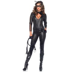 Wicked Kitty - Small, Medium & Large 3pc wicked kitty includes quilted zip up catsuit   #Halloween_Costumes #Women #Party
