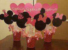 Centros de mesa de Minnie Mouse decoraciones de cumpleaños de