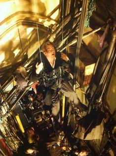 Christopher Nolan on Batman Begins set