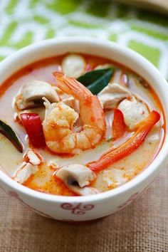 Thai Coconut Chicken and Shrimp Soup Recipe and Shrimp Thai Coconut Chicken and Shrimp Soup – the best soup you'll ever make in your kitchen. This soup is to-die-for, better than Thai takeout! Seafood Dishes, Seafood Recipes, Soup Recipes, Cooking Recipes, Seafood Soup, Chicken And Shrimp Recipes, Easy Delicious Recipes, Yummy Food, Healthy Recipes