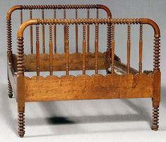 "Tennessee walnut ""spool"" bed, turned headboard, footboard and spindles, rails with scalloped ends, American, probably Tennessee, 19th century, 49 x 78 x 55-1/2 in."