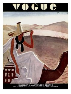 Vogue Cover - December 1930 by Pierre Mourgue. Giclee Print at Art.com.