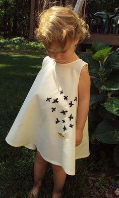 Custom Hand Embroidered Black Bird in the Pie Dress Made to Order