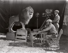 Filming of the MGM opening credits (1928). http://boredomtherapy.com/rare-history-photos/?as=6022059793684