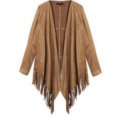 Women Fashion Suede Leather Tassel Long Sleeve Shawl Coat (98 PEN) ❤ liked on Polyvore featuring outerwear, coats, khaki, women plus size outerwear, print coat, suede shawl, brown shawl, brown suede coat and shawl coat
