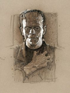 Universal Monsters Series by the movie poster king, Drew Struzan. Part of The Universal Monsters Art Show at the Mondo Gallery. Horror Monsters, Scary Monsters, Famous Monsters, Art Frankenstein, Universal Monsters, Illustrations, Illustration Art, Frankenstein's Monster, Monster Movie