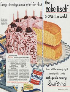 1954 Swift'ing Shortening Ad Birthday Cake Recipe by AdVintageCom