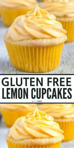 Easy Gluten Free Lemon Cupcakes (with Frosting!) - Easy Gluten Free Lemon Cupcakes recipe, this easy gluten free cake is quick to create and cook, you - Patisserie Sans Gluten, Dessert Sans Gluten, Gluten Free Sweets, Gluten Free Cakes, Gluten Free Cooking, Dairy Free Recipes, Gluten Free Lemon Cake, Easy Recipes, Sem Lactose
