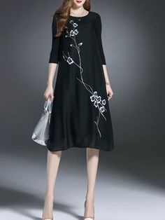 Black Linen Vintage Midi Dress