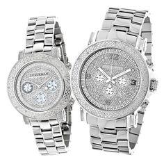 Matching His and Hers Watches: Luxurman Oversized Diamond Watch Set 0.55ct