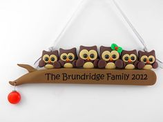 Personalize Owl Family of Six Christmas Ornament Polymer Clay