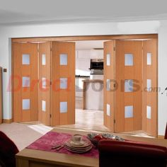 Nuvu Roomfold Catalonia Oak 6 Door Set with Frosted Safety Glass, 2078mm high and 4188mm wide  #directdoors