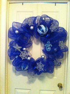 Winter Christmas Deco Mesh Wreath. $45.00, via Etsy.