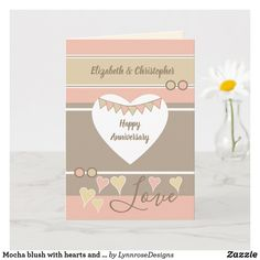 Mocha blush with hearts and bunting anniversary card Wedding Anniversary Greeting Cards, Happy Anniversary, Love Wishes, Custom Greeting Cards, Plant Design, Happy Day, Thoughtful Gifts, Love Heart, Party Hats