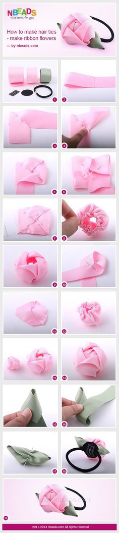 How to Make Hair Ties - Make Ribbon Flowers diy crafts craft ideas easy crafts diy ideas easy diy craft jewelry